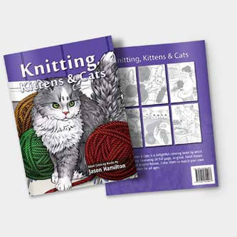 Knitting Kittens Cats Coloring Book